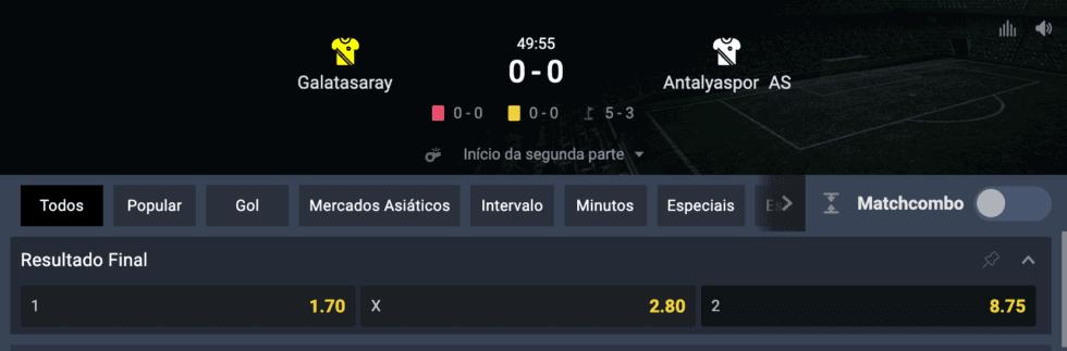 Exemplo de odds numa aposta esportiva online